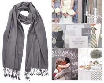 Light Grey pashmina scarf shawl / personalized initial shawl / bridesmaid shawl / wedding favor / spring