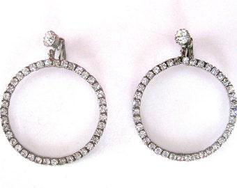 Pair of 1960's  2-Inch Rhinestone Hoop  Earrings