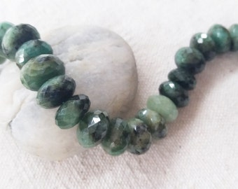 "Emerald Rondelle Beads Approz. 11-12mm, 8.5""L, 193CT"