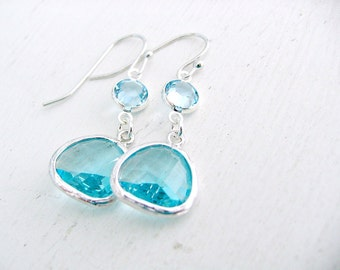 Silver Aquamarine Earrings Aqua Dangle Earrings Swarovski Crystal Birthstones Aquamarine Aqua Earrings Beach Wedding Bridesmaid Earrings