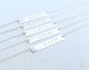 Personalized Initial Necklace Name Necklace Date Necklace Custom Letters Name bar Wedding Date Bridesmaid Necklaces Monogram Initials Gift