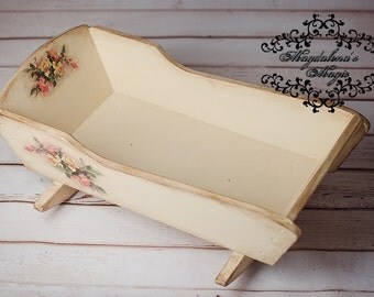 Cradle,Vintage Style, Decoupage, Solid Wood Upcycled Cradle with Rose motives