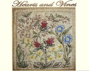 Hearts and Vines - Guy - Hand Embroidery Pattern by Beth Ritter - Instant Digital Download