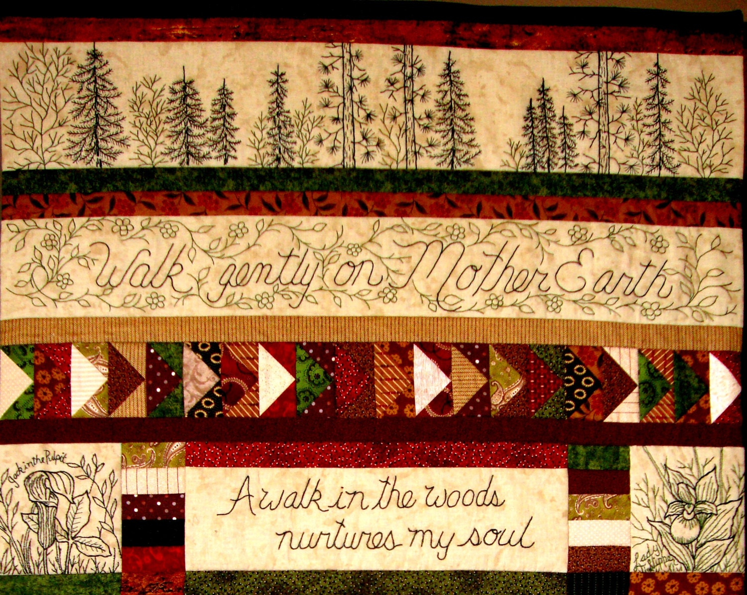 Woodland Walk In Earth Tones Quilt Pattern  12 Hand Embroidery Blocks,  Label & Quilt Finishing Pattern  By Beth Ritter