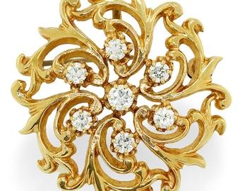 Vintage Round Diamond Open Filigree 14kt Yellow Gold Pendant Brooch
