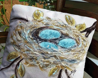 Robin's Nest Pillow, Decorative Bed Pillows,  Indoor/Outdoor, Hand-painted, Robin's Blue Eggs, Pillow Cover, No. 111