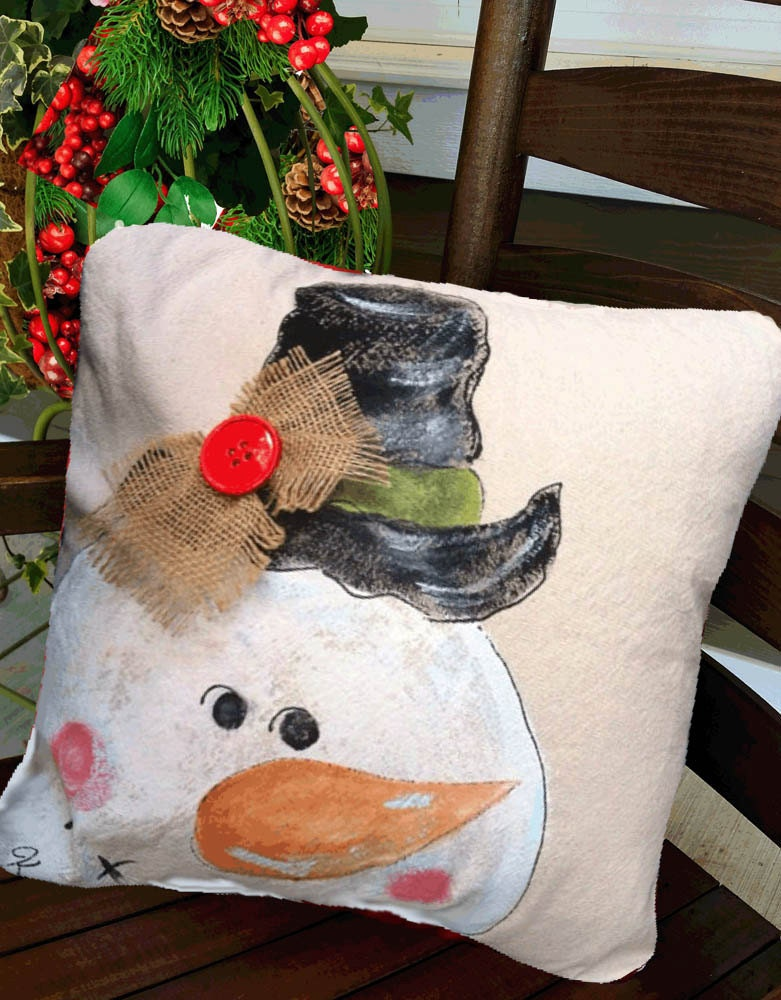Whimsical Hand Painted Snowman Pillow Cover