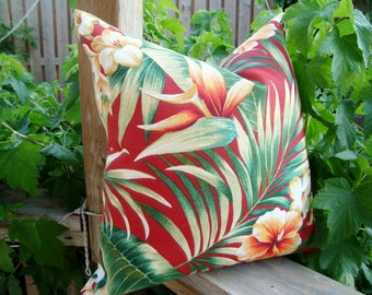 Tropical Palm Leaves Decorative Designer Green Red Printed Fabric both sides Indoor/Outdoor Pillow Cover 16 18 19 20 24 Patio Bench cushion