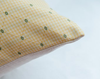 Yellow Checkered w/ Green Accents Pillow Cover