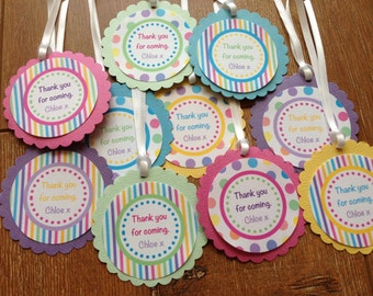 Rainbow Personalised Party Thank You Tags