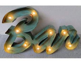 Antique Style Retro Bar Lighted Sign Painted on Tin Old Script Advertising - Wall Art with Switch