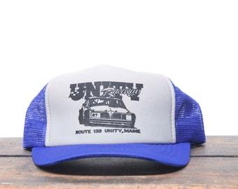 Vintage Unity Racing Car Race Track Unity Maine Trucker Hat Snapback Baseball Cap