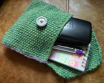 Envelope Pouch, Naturally Dyed Yarn, Hand Knitted, wool bag, eco friendly bag, green bag, knitted bag, book pouch, wool pouch,