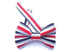 Patriotic Bow tie, Red striped bow tie, Blue striped bow tie, red bow tie, blue bow tie, July 4th bow tie, July 4th necktie,
