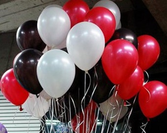 "100 (12"") balloons red black and white balloons party supplies"