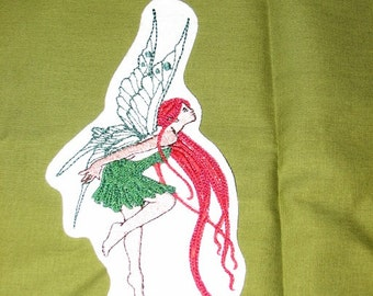 Red Haired Fairy Fae Whimsical Iron on No Sew Embroidered Patch Applique
