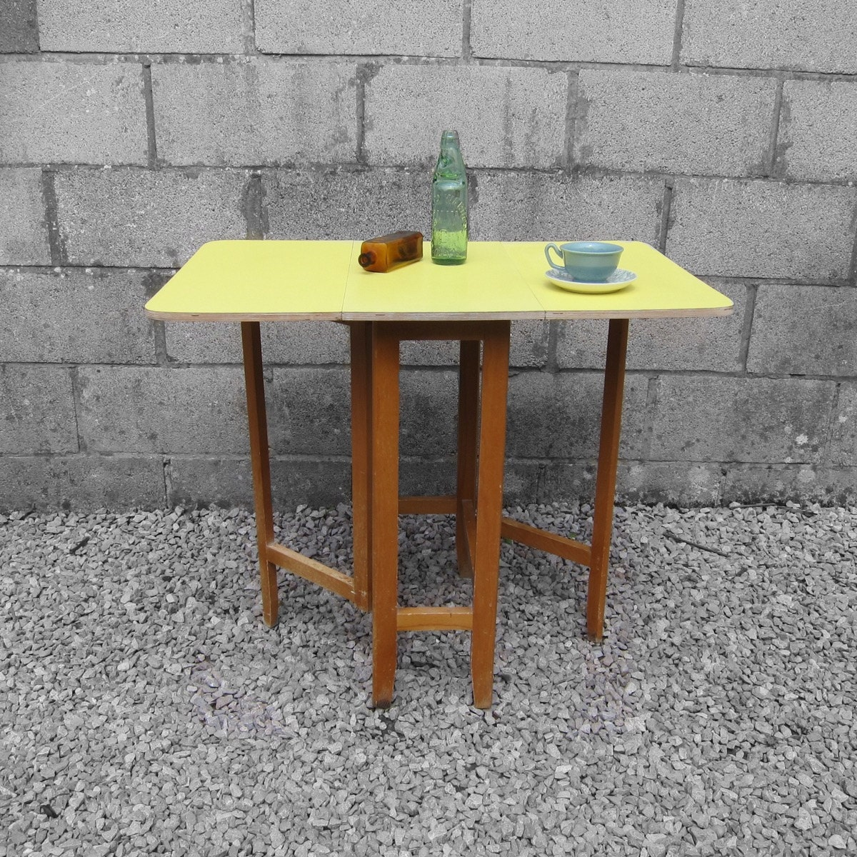 1950s spring yellow melamine formica folding small kitchen ding table