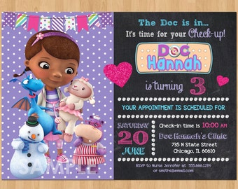Doc McStuffin Invitation, Doc McStuffins Birthday Invitation, Chalkboard Doc McStuffins Invitations,Doc McStuffins Birthday Party Printable