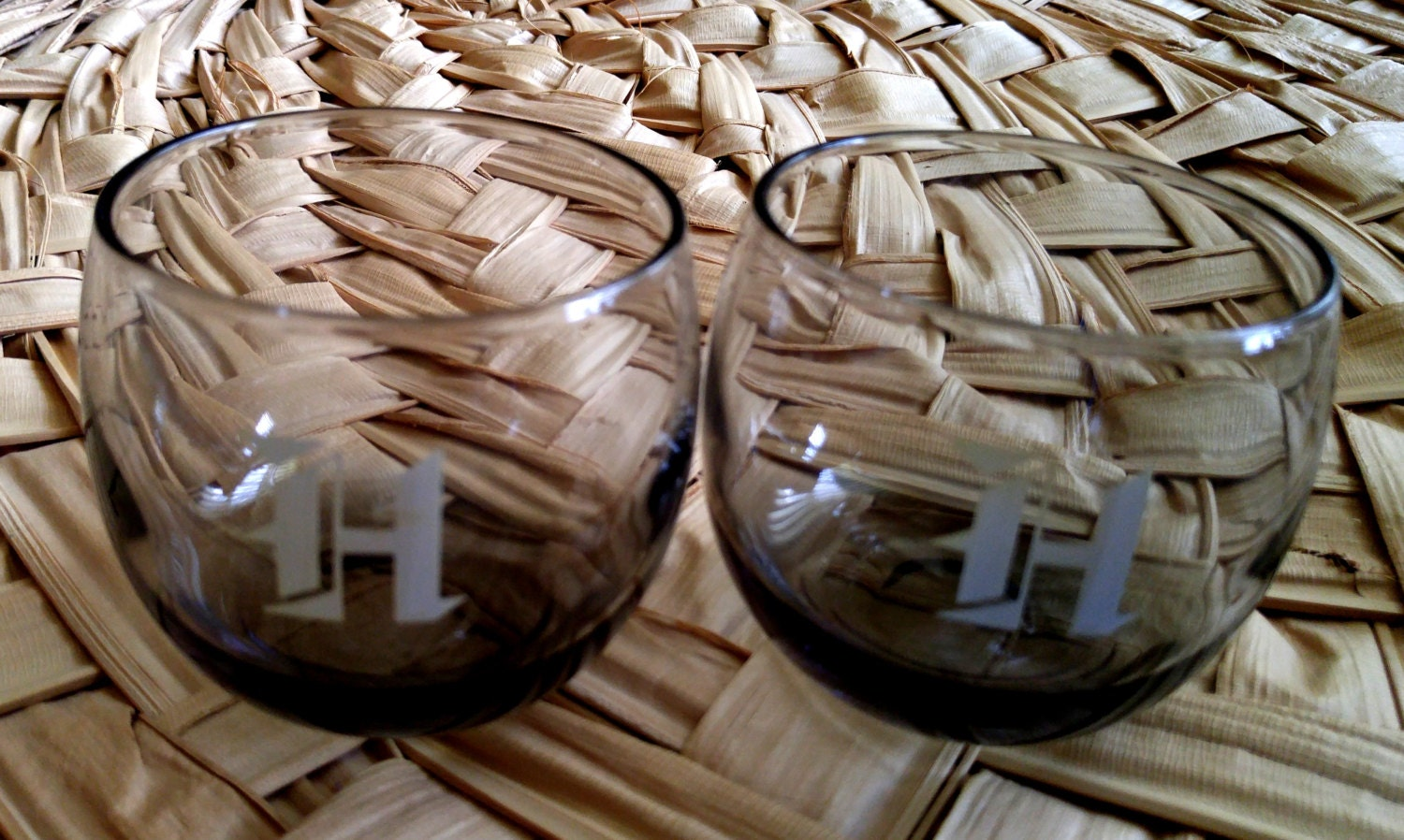 Vintage Set Of Two Stemless Smokey Brandy Wine And Cognac Glasses Monogrammed With H Haute Juice