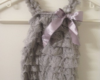 Baby Toddler Ruffle Petti Romper With Straps Grey LARGE