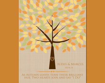 Autumn Wedding Decor, Wedding Signature Tree with 180 Leaves, Alternative Guestbook Tree, Wedding Tree Signature Guestbook, Fall Wedding