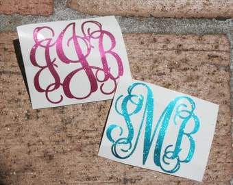 Custom Glitter Monogram Decal