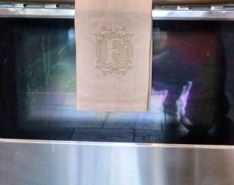 Linen Kitchen Towel/Linen Towel/Embossed Monogrammed Single Letter Linen Towel/Linen Dish Towels/Embroidered Linen Towel/Embossed Towel/Tea