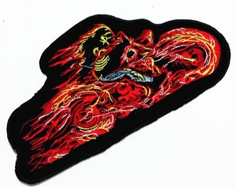 Large Size Punk Flame Motor (20 x 10 cm) Embroidered Applique Iron on Patch (B)