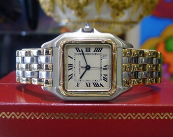 Ladies CARTIER Panthere 18K Yellow Gold Stainless Steel Roman Numeral Watch