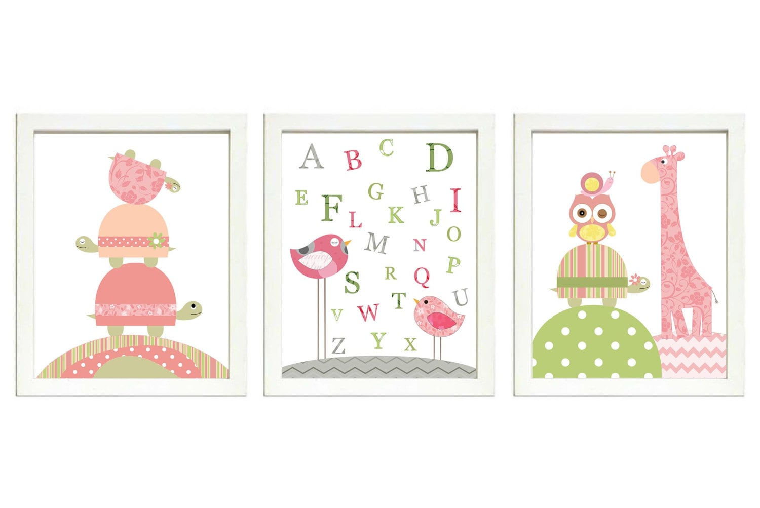 Pink Green Girls Nursery Art Print Set of 3 Bird Turtle Giraffe Snail ABC Alphabet Baby Nursery Prin