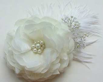 Flower for hair  Ivory hair clip Bridal hair accessory
