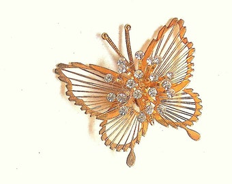 Beautiful Gold Vintage Butterfly Pin with Rhinestones