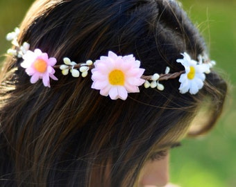 THE SIENNA sale! Pink & White Flower Crown Sunflowers Prom Hippie Gypsy  Woodland Hair Jewelry Head Band Daisy Halo Spring Christmas Crown
