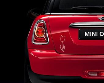 TWO Fringe White Tulips vinyl car decals - rear window decals - car bumper sticker