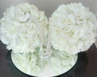 2x Ivory pomander/kissing ball, 8 inches SALE