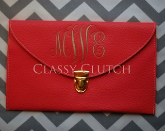 Monogrammed Clutch  Envelope Purse Envelope Clutch Coral Pink Clutch