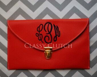 Monogrammed Clutch  Envelope Purse Envelope Clutch Orange Clutch