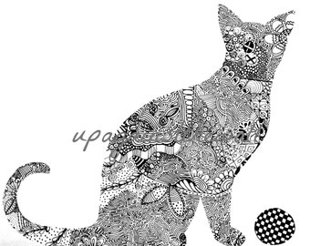 Cali. Black and white doodled cat print
