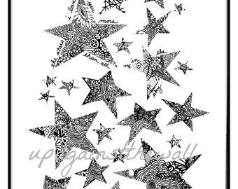 All the Stars in the Sky. Nursery print. Doodle stars.
