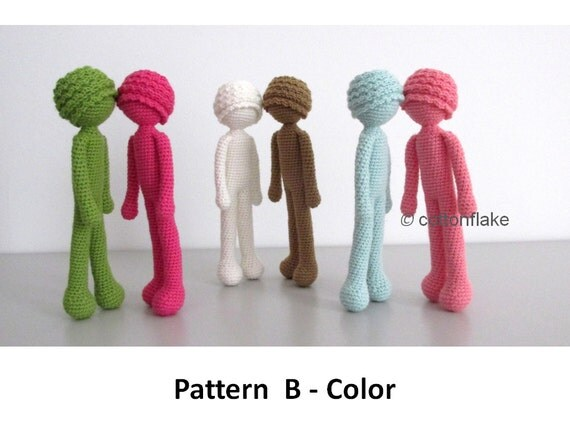 Amigurumi Human Body : Pattern B Color doll amigurumi crochet human body