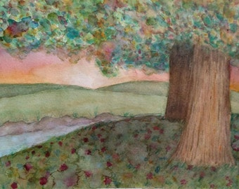 Sunset Colorful Tree Water Color Painting 11 X 14 Original