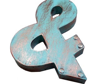 """Industrial Patina Faux Metal Letters and Numbers - 8"""" or 12"""""""