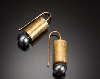 Short Brass Cylinder Earrings