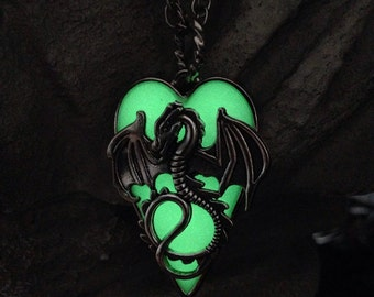 Maleficents Glowing Pendant - New Colors - Glow in the Dark Jewelers Resin, Steel Heart Bezel, Silver Plated Dragon and Rope Chain