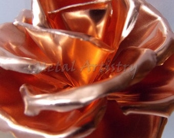 Copper Rose/Anniversary Rose/Handcrafted/Personalized/Sculpture/Metal/Decor/Art