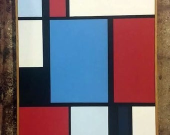 Florence Arnold Original 1960's Hard Edge Geometric Abstract Oil Painting