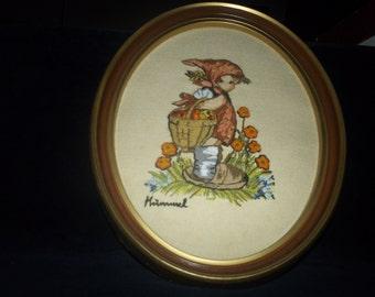 Crewel Hummel Needlework Picture