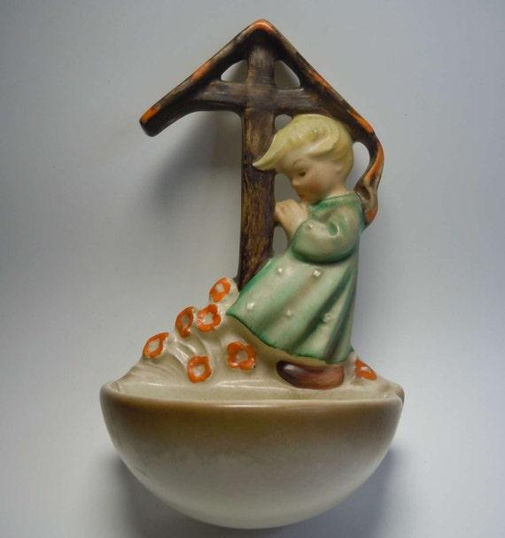 hummel 147 holy water font angel shrine from 1957. Black Bedroom Furniture Sets. Home Design Ideas
