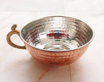 Copper hand hammered Turkish Water, tea, soda cup & soup bowl