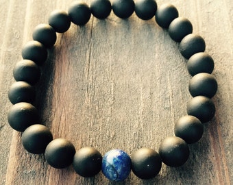 FREE SHIPPING in USA!!  Black Matte Onyx and Lapis Lazuli 8mm Spiritual Bracelet Handmade On Stretch Cord Custom Sizes Available